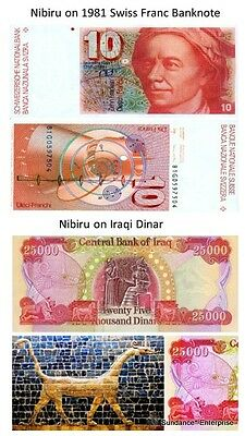 Nibiru Planet X Featured on Swiss Franc and Iraqi Dinar Laminated Copy Bank Note