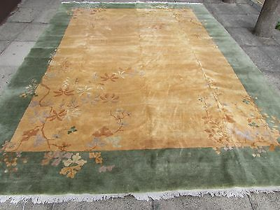 Antique Hand Made Art Deco Chinese Green Gold Wool Large Carpet 355x270cm