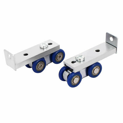 Pair Plastic 4-wheel Wardrobe Closet Pulley Hardware Sliding Door Rollers
