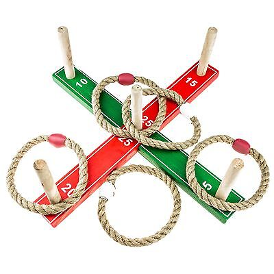 Kids Classic Ring Toss Rope Quoits Pegs Hoopla Wooden Outdoor Family Garden Game