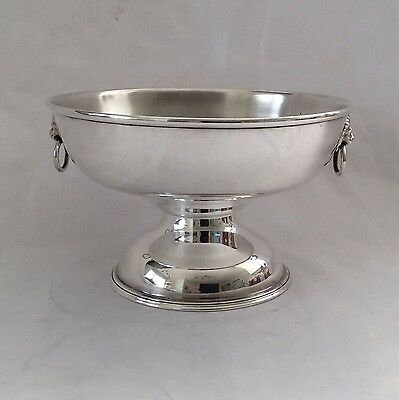 Fine Vintage VINERS Of Sheffield Silver Plated Pedestal Bowl Lionsheads Handles