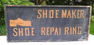 Antique Orig 1890's 'SHOE MAKER - SHOE REPAI RING' FOLK-ART COBBLER'S TRADE SIGN
