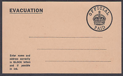 EVACUATION Offficial PAid Postcard; approx. 127mm by 76mm Fine Mint