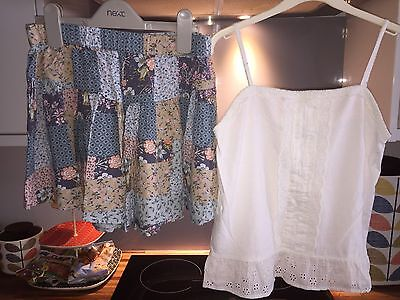 BODEN Girls Pretty Top And NEXT patchwork Skirt Age 11-12 EXCELLENT CONDITION