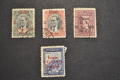 belle selection timbres anciens TURQUIE 1930 surcharge SVAS IZMIR OBL