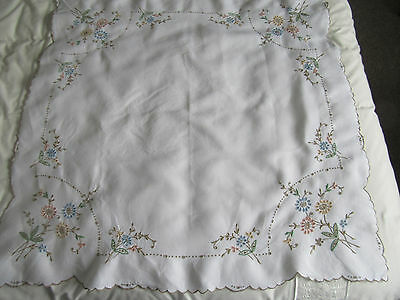 "Bundle 3 white linen small tablecloths hand embroidered Madeira pastels 34""  42"""