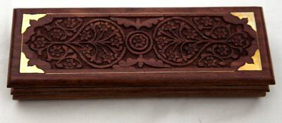 Fantastic Long Intricately Carved Wooden Pen Box