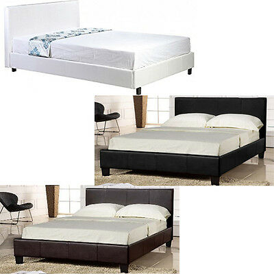5Ft King Size Faux Leather Bed Headrest Beds Bedroom White Luxury Modern Design