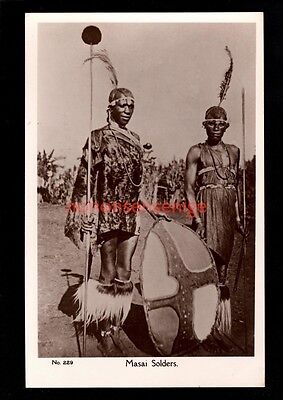 B.E.A. British East Africa MASAI SOLDIERS C. D. Patel REAL PHOTO POSTCARD - 09