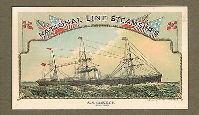 National Line Steamships S.s Greece 1880`s Trade Card