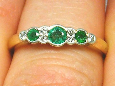 9k Gold 9ct gold Emerald & Diamond eternity ring size N Hallmarked , Boxed