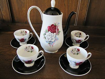 Queen Anne~Red and White Rose~Coffee/Espresso Set for 4
