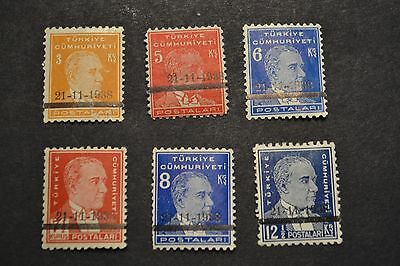 belle selection timbres anciens TURQUIE 1938 surcharge 21/11/1938 neuf **