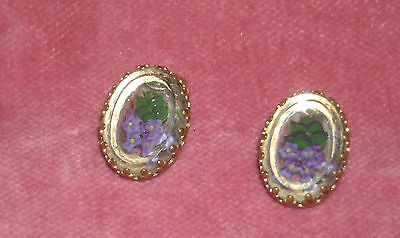 05 Antique Victorian Intaglio Violets earrings