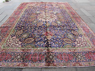 Old Traditional Hand Made Persian Rug Oriental Wool Blue Large Carpet 385x283cm