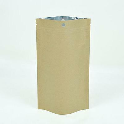 Ziplock Grip Seal Bags Stand Up Pouch Brown with Aluminium Foil Inner 12x20CM