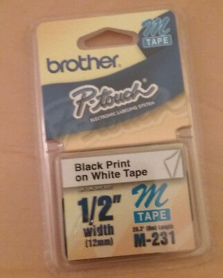 """Label Maker Tape Brother P touch Black Print on White Tape 1/2"""" Width 12mm"""