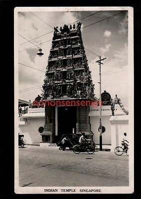 SINGAPORE Malaya INDIAN TEMPLE REAL PHOTO POSTCARD 1949 Singapore to Herts - 71