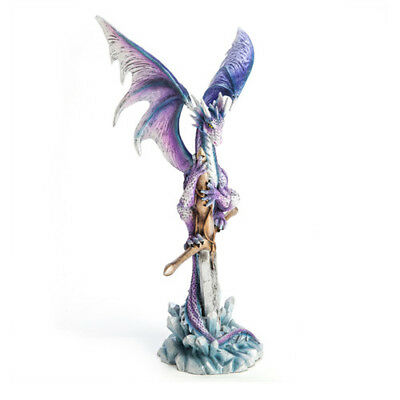 Purple Dragon on Sword Figurine Mystical Figures Fairies Magical Decorations