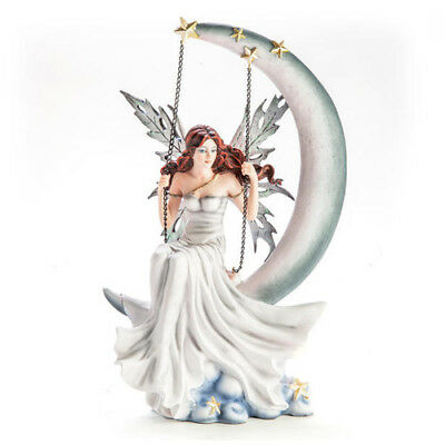 White Fairy Figurine Sitting On A Moon Swing Fantasy Desk Decoration Decors