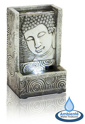 Buddha Table Top Fountain Indoor Water Feature with Lights Cascade Home Office