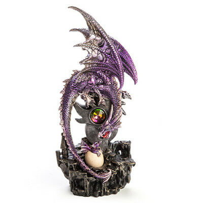 Purple Dragon with Baby LED Light Colourful Egg Hatching Statue Figurines Décor