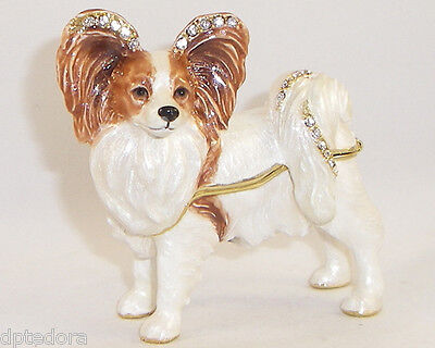 Kingspoint Princess Papillon Dog Pewter Bejeweled Hinged Trinket  Box
