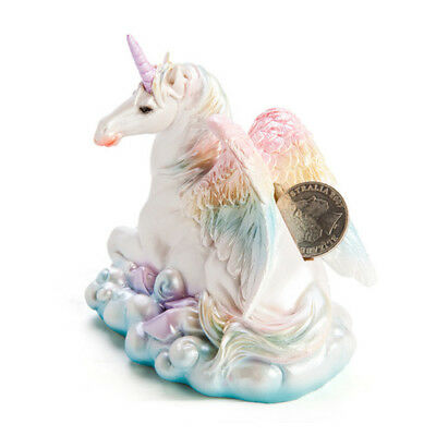Flying Unicorn Money Bank Security n Cash Coins Pastel Rainbow Wings