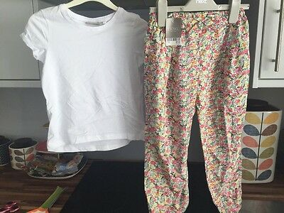 NEXT Girls Floral Summer Trousers And T Shirt Age 5-6 BNWT