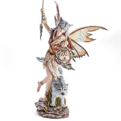 Large Fairy Hunter Figurine with Wolf Companion Display Statue Ornament Figure
