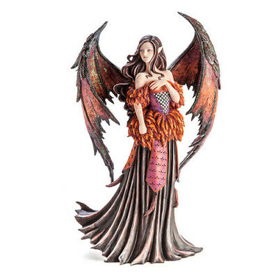 Large Red Gothic Angel Fairy Figurine Mythical Fantasy Statue Desk Decoration