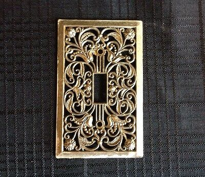 Vintage Ornate Metal Single Light Switch Plate Cover Victorian Floral