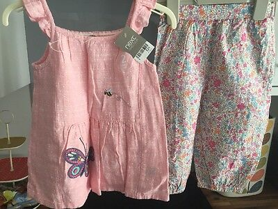 NEXT Gorgeous Girls Outfit Pink Linen Top & Floral Summer Trousers Age 4-5 BNWT