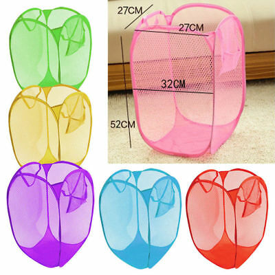 New Foldable Pop Up Washing Clothes Laundry Basket Bin Hamper Mesh Storage Bags