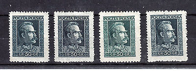 POLAND  1928  Fi 238    4  COLOR  SHADES    MLH *