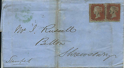 GB 1854 1d Red Stars SC P.16 X 2 Wrapper from London to Shrewsbury