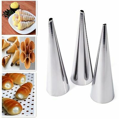 3pcs Conical 3Pcs Cone Stainless Steel DIY Cake Baking Tube Croissants Mold
