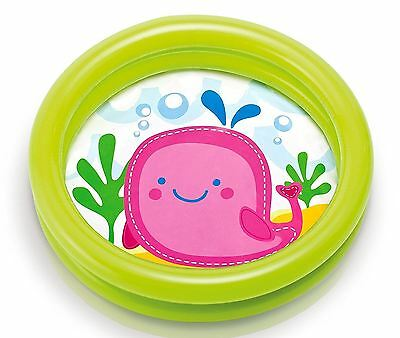 My First Babies Toddlers Splash Inflatable Paddling Pool 2 Ring PINK WHALE 59409