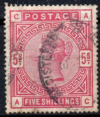 (322) Very Good Lightly Used 1884 Sg180 Qv 5/- Rose