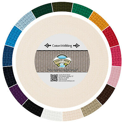 Country Brook Design® 1 Inch Natural Heavy Cotton Webbing, 25 Yards