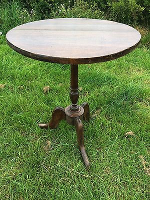 Antique Plank Top Wine Table, Circular Georgian Side Table C19th