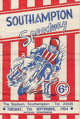 SOUTHAMPTON  v  LEICESTER   1954  SPEEDWAY  PROGRAMME