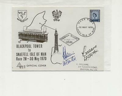 Isle of Man 1970 Dual Signed Blackpool Tower to Snaefell Race Cover