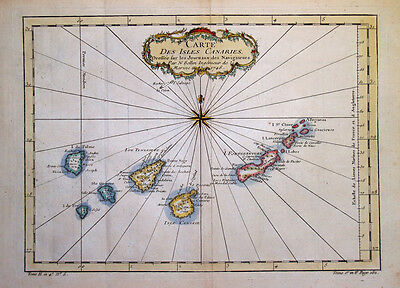 1757  Bellin Map of the Canary Islands