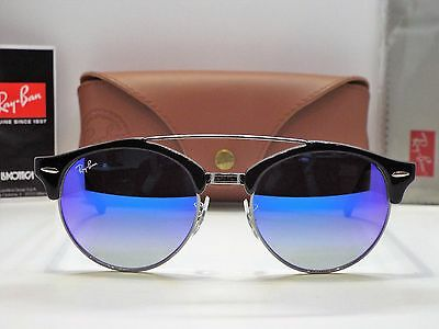 Authentic Ray-Ban RB 4346 6250/7Q Clubround Black Blue Gradient Sunglasses $245