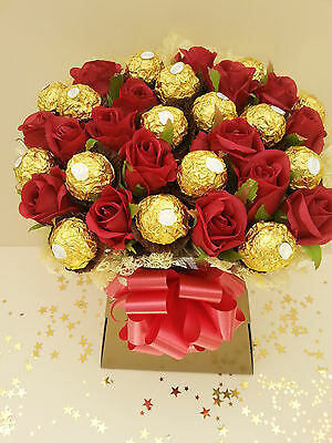 Ferrero Rocher Chocolate & Red Roses Bouquet Sweet Tree - Perfect Gift - Eid