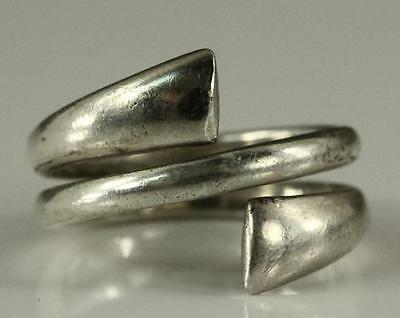 Vintage Jewelry Upcycled Spoon Ring 925 Sterling Silver Size 7 Wrap Style