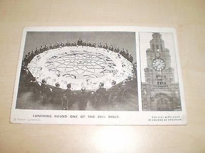 1910 Advertising Postcard Liverpool Royal Liver Building Lunching Around Clock F
