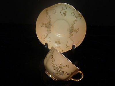 1893 Royal Worcester Blush Cup and Saucer Raised Gilt Gold Trailing Vines