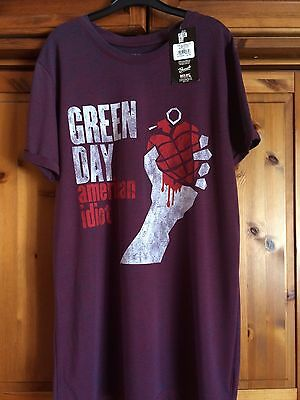 Green Day American Idiot Vintage Navy Red Burnout T-shirt.